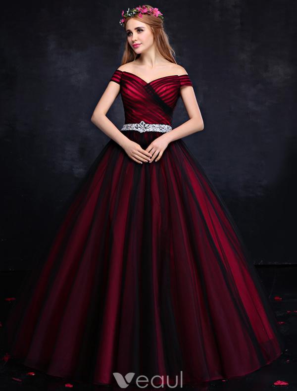 Elegant Prom Dress 2016 Off The Shoulder Backless Burgundy Formal ...