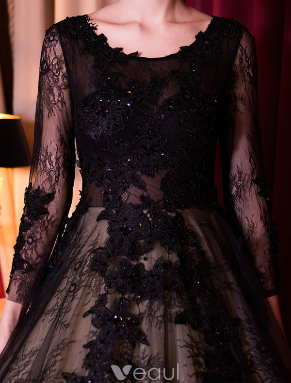 Elegant Prom Dress With Long Sleeves Black Lace Ball Gown 2017