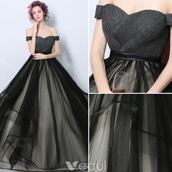 Elegant Prom Dresses 2017 Off The Shoulder Ruffle Black-champagne Tulle Dress