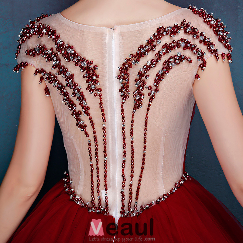 Elegant Scoop Beading Neckline Pleated Burgundy Tulle Prom Dress With Beading Sash