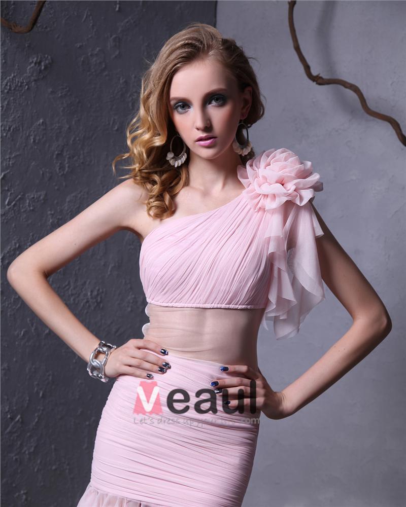 Elegant Yarn Ruffle Pleated Flower Sloping Asymmetrical Length Women Prom Dress