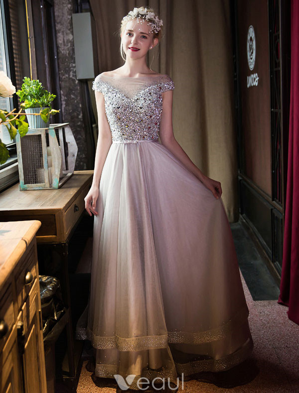 Fashion Long Prom Dress Grey Formal Gown Beaded Crystal