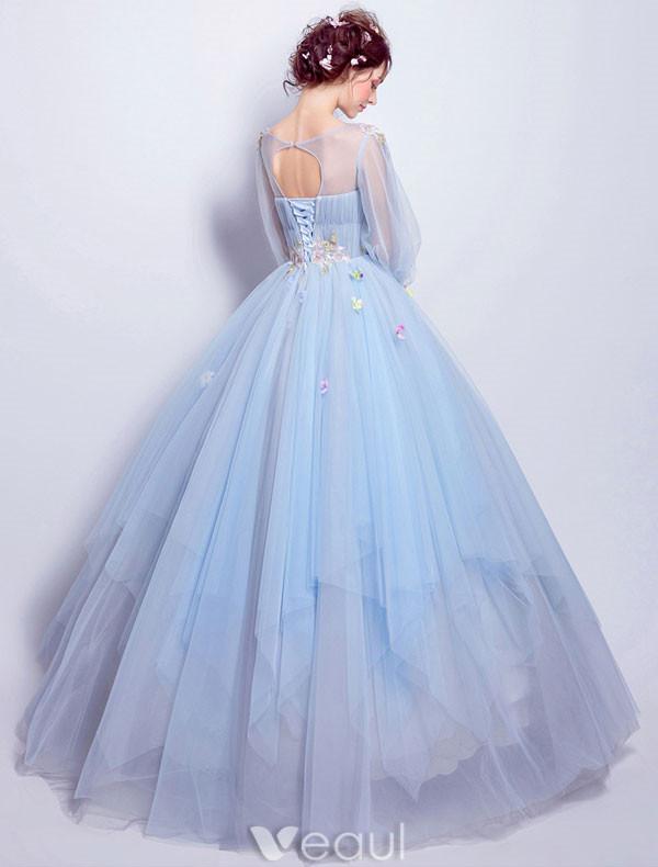 Flower Fairy Prom Dresses 2017 Scoop Neckline Applique Colorful Flowers Ruffle Sky Blue Tulle Occasion Dresses