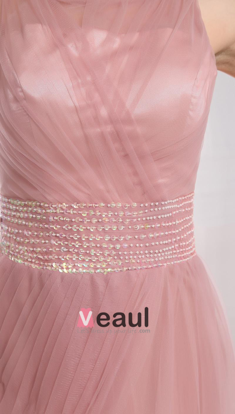 Gauze Beading Ruffle Jewel Sleeveless Court Train Pleated Prom Dress