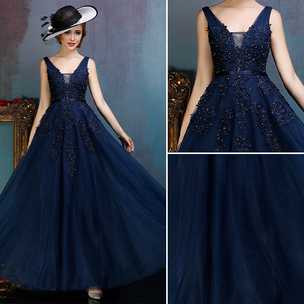 Glamorous Backless Dark Blue Prom Dress Applique Lace Party Dress With Sequins
