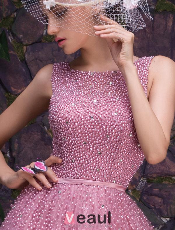 Glamorous Scoop Neckline Beading Glitter Organza Prom Dress