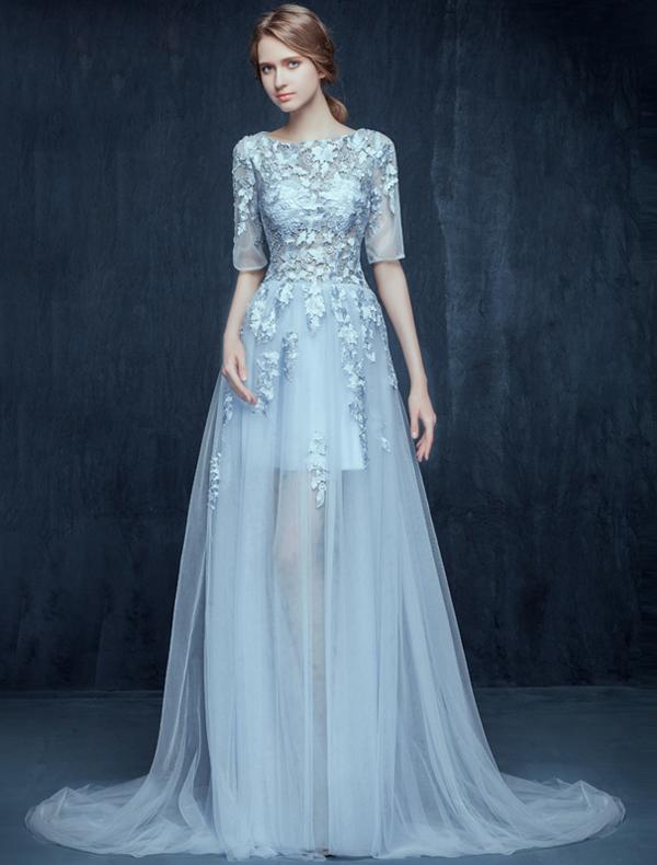 Glamorous Sky Blue Prom Dresses 2016 A-line Scoop Neck Applique ...
