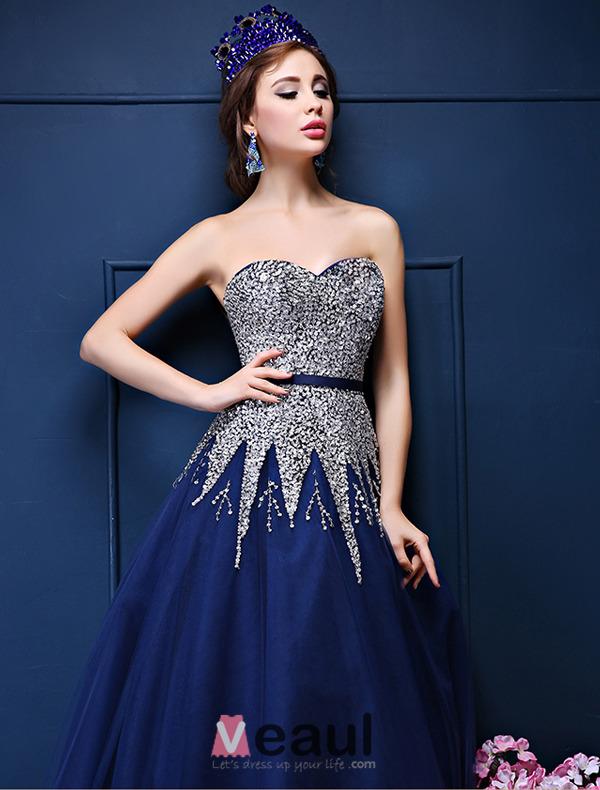 Glitter A-line Sweetheart Beading Sequins Sash Royal Blue Organza Prom Dress