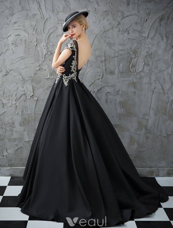 Glitter Prom Dresses 2017 Scoop Neckline Beading Rhinestones Ruffle Black Satin Dress