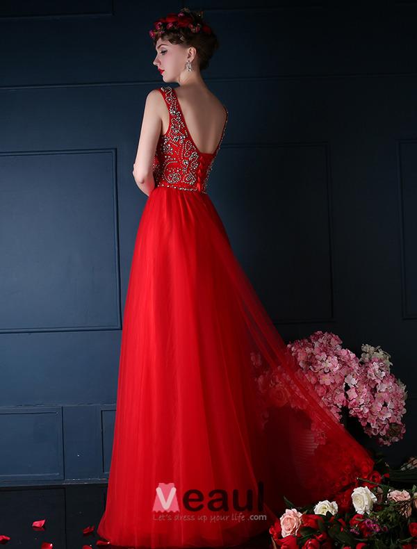 Luxury Scoop Neck Beading Rhinestone Crystal Royal Blue Tulle Prom Dress