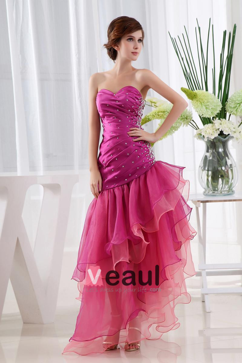 Organza Satin Beading Ruffle Sweetheart Sleeveless Backless Asymmetrical Tiered Prom Dress