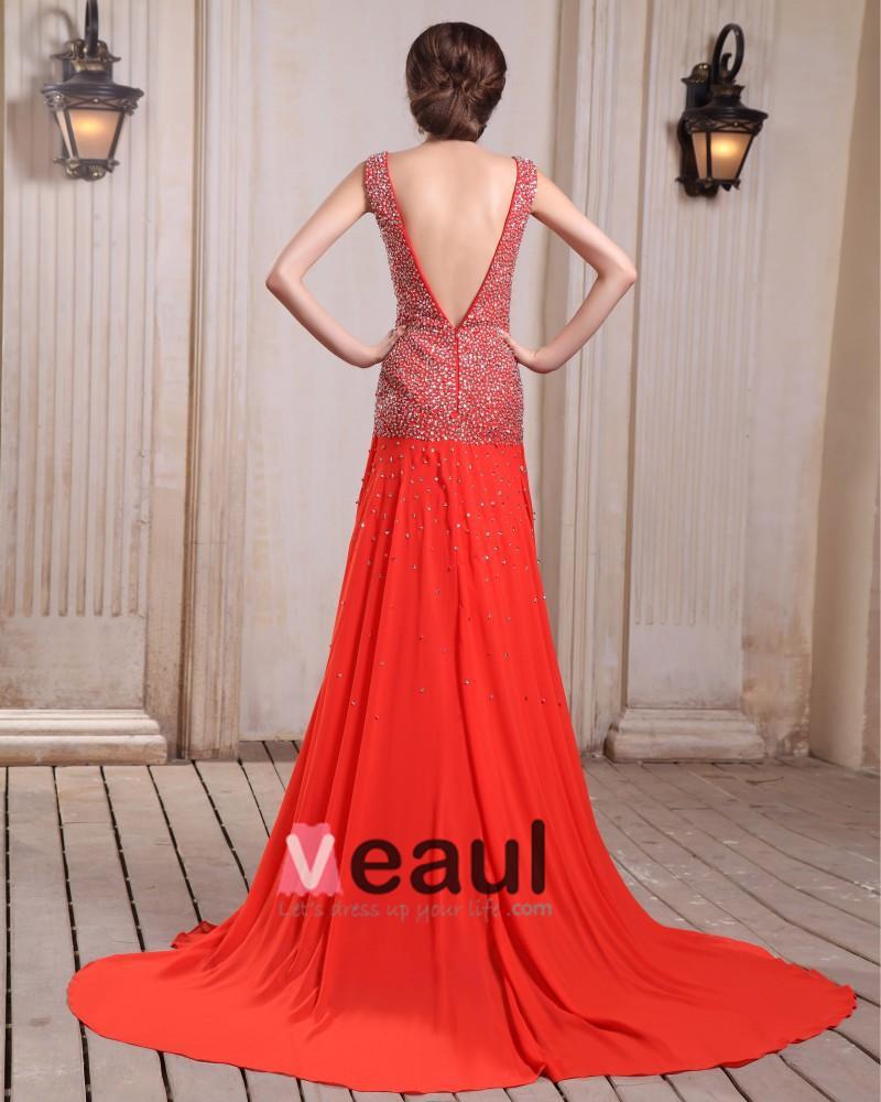 Sleeveless Charmeuse Chiffon Beading V-Neck Chapel Train Red Prom Dresses