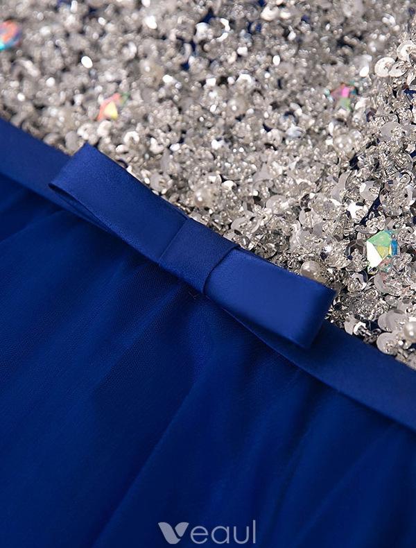 Sparkly Prom Dresses 2016 A-line Scoop Neckline Beaded Sequin Royal Blue Backless Long Dress