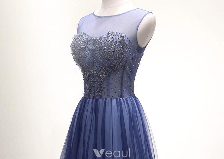 Sparkly Prom Dresses 2016 Corset Design Beading Sequins Navy Blue Long Dress