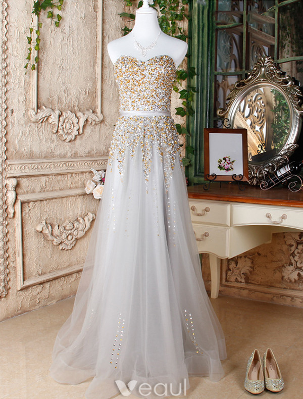 Sparkly Prom Dresses 2017 Sweetheart Beading Sequins Silver Long Dress