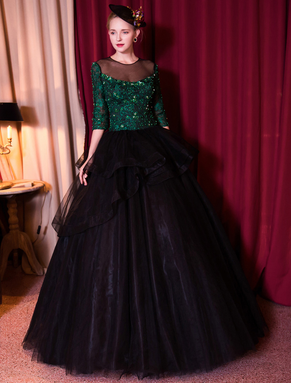 Stunning Prom Dresses 2017 Scoop Neck Dark Green Lace And Sequins With Black Tulle Puff Dress