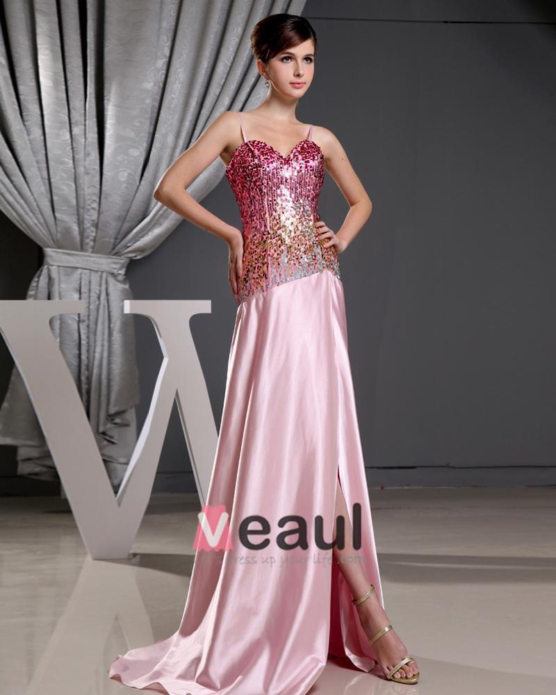 Stylish Spaghetti Straps Sequins Sleeveless Zipper Floor Length Slit Prom Dresses
