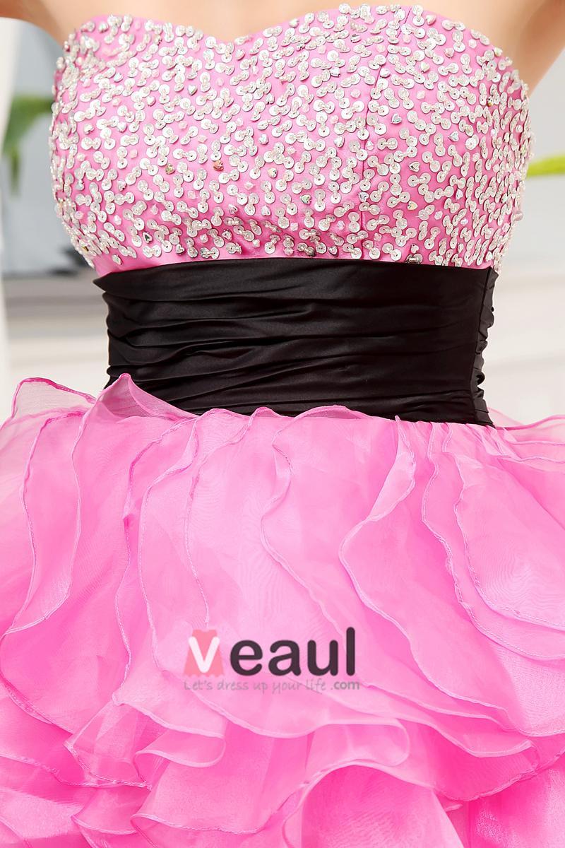 Sweetheart Neckline Sleeveless Asymmetrical Length Beading Ruffles Silk Woman High Low Prom Dress