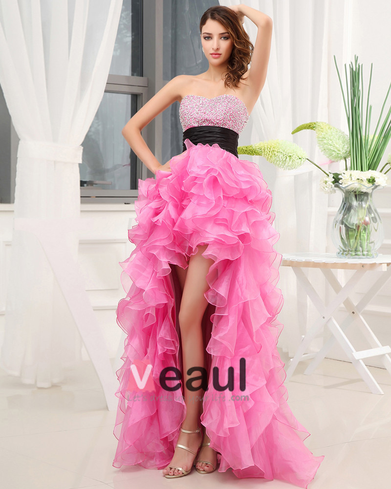 Sweetheart neckline sleeveless asymmetrical length beading ruffles silk woman high low prom dress - Dressing modellen ...