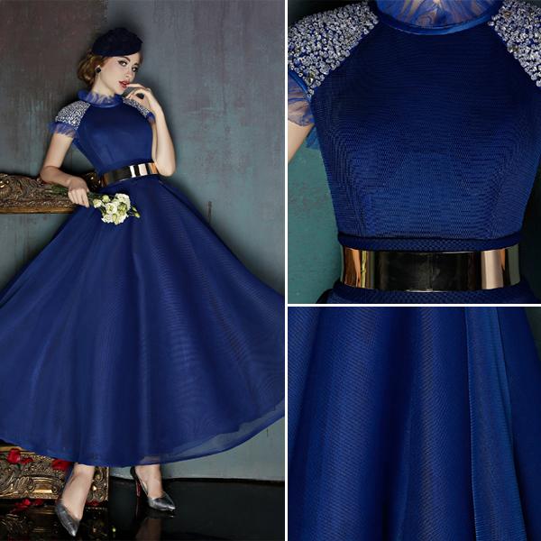Vintage High Neck Royal Blue Tulle Prom Dress With Metal Sash