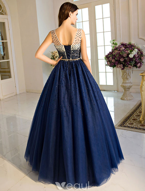 Vintage Royal Blue Prom Dress 2017 Floor Length Backless Ball Gown With Sash