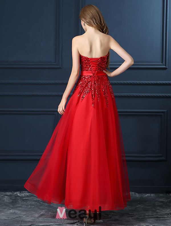 ... Organza Rouge Robe De Soirée Avec Ceinture [1311509004] - Veaul.com