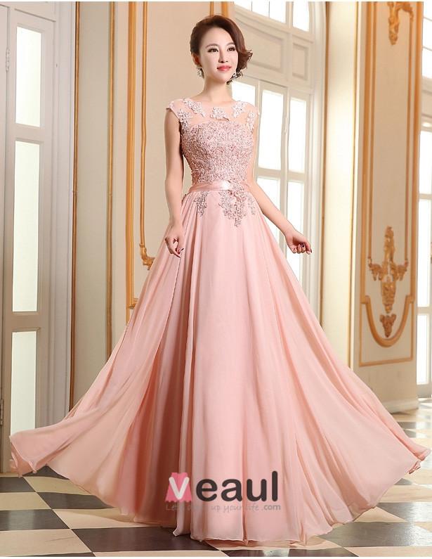 robe de ceremonie rose a ligne dentelle robe de soir e. Black Bedroom Furniture Sets. Home Design Ideas