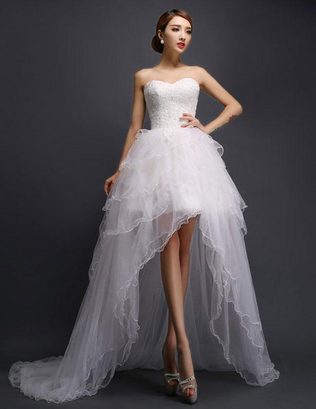 une ligne courte et mini cherie robe de mari e en tulle