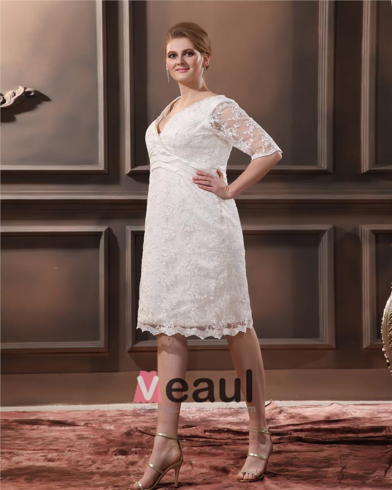 Dentelle col v manches trois quart plus la taille de for Plus la taille des robes de mariage formel