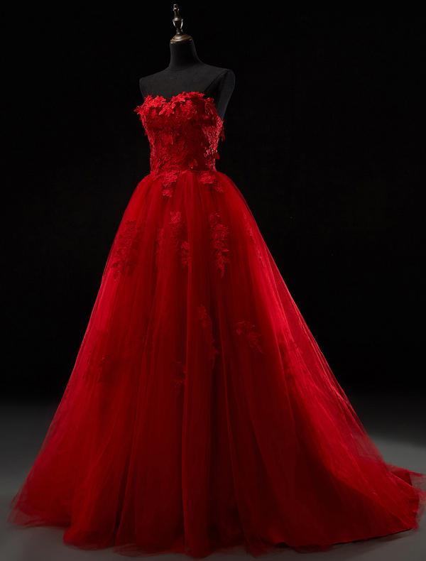 ... De Dentelle Épaisse Robe De Mariée En Tulle Rouge Avec Train De