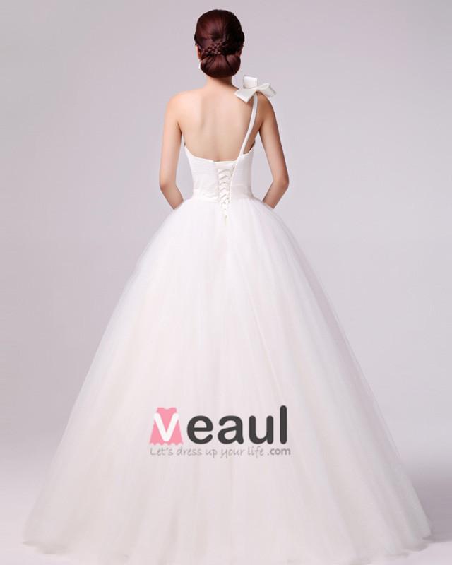 ... Satin Une Epaule Une Robe De Mariée En Ligne [1114120030] - Veaul.com