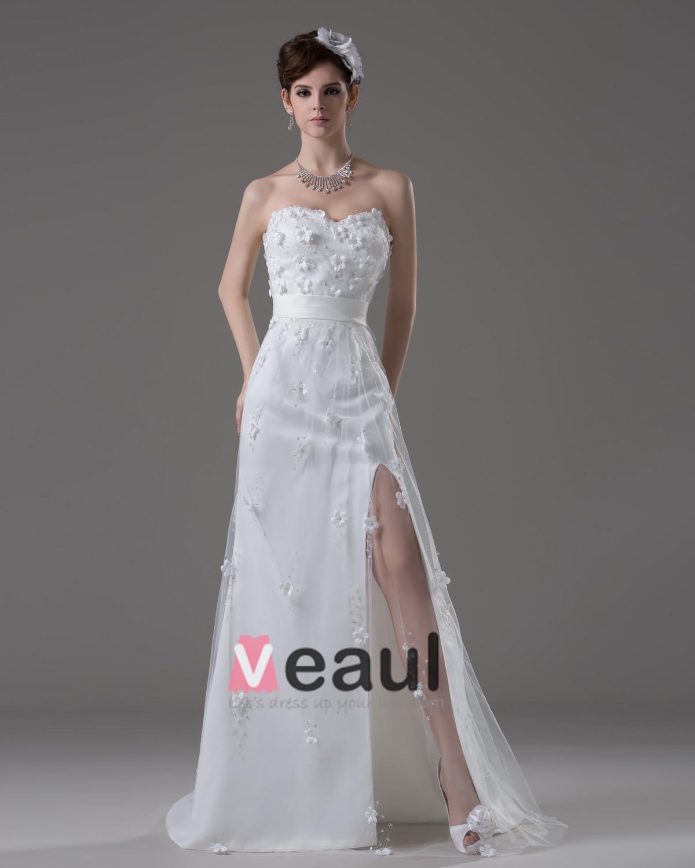 ... Rez-de Fleurs De Longueur Perles Satin Une Robe De Mariée En Ligne