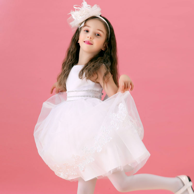 Robe de fille de fleur blanche filles robe en dentelle robe