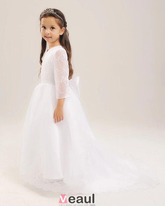 Robe de fille de fleur blanche Robe de fille de fleur de lin
