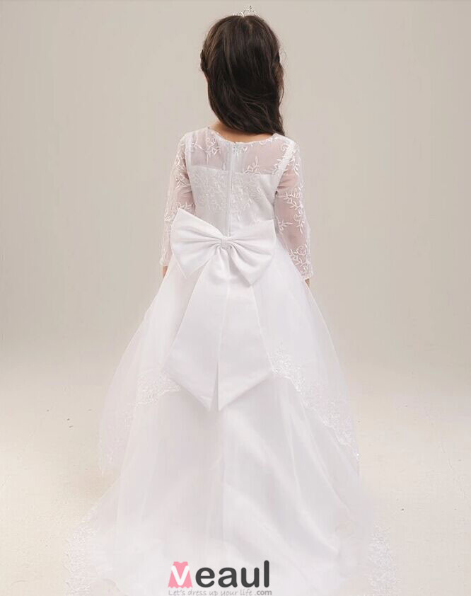 Robe de crmonie fille blanche et rouge orne de fleurs