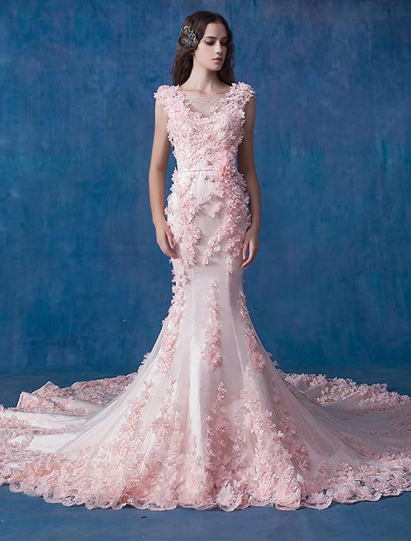 trouwjurken, bruidsjurk, bruidsjurken roze