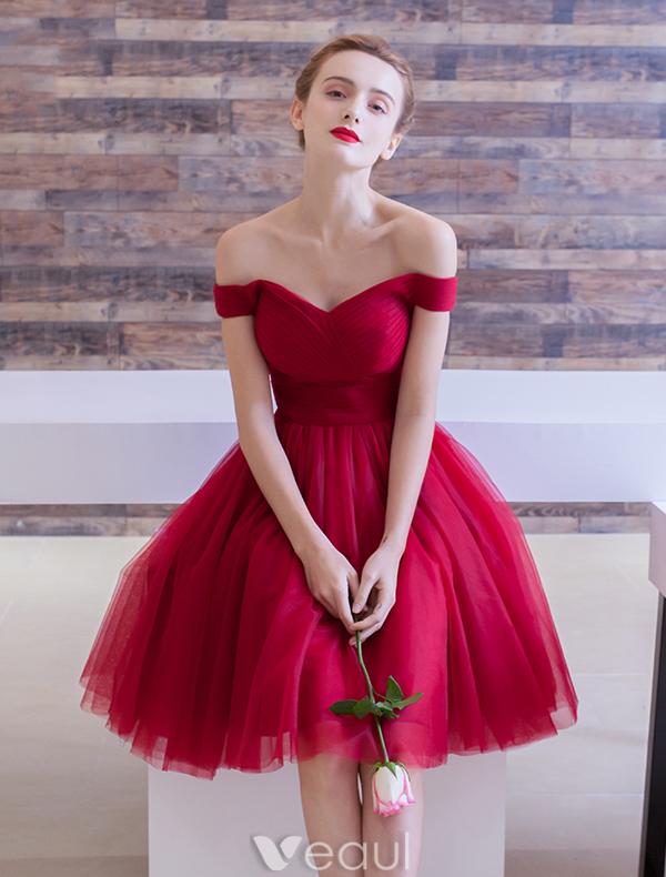 Vestido De Fiesta Elegante 2016 Fuera De La Colmena Del Hombro Longitud De La Rodilla De
