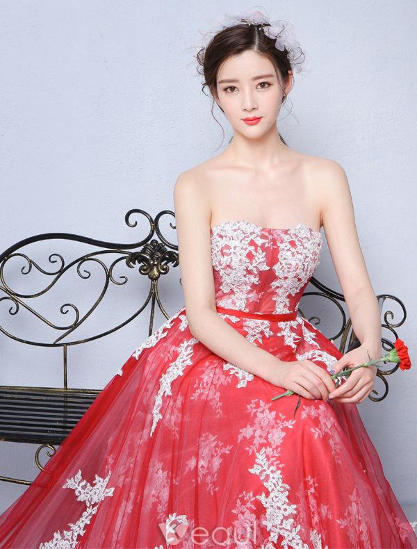 vestidos de fiesta rojo y blanco
