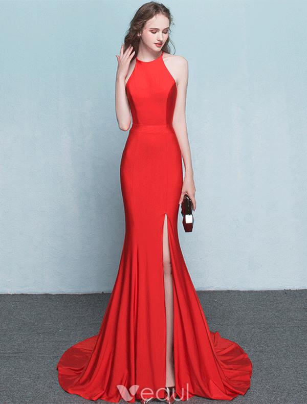 Elegante Vestido De Noche De Sirena Rojo Largo Vestido Formal 2017