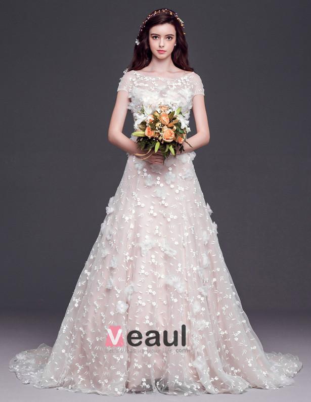 2015 A-line Square Neckline Organza Lace Handmade flower Cathedral Train Wedding Dress