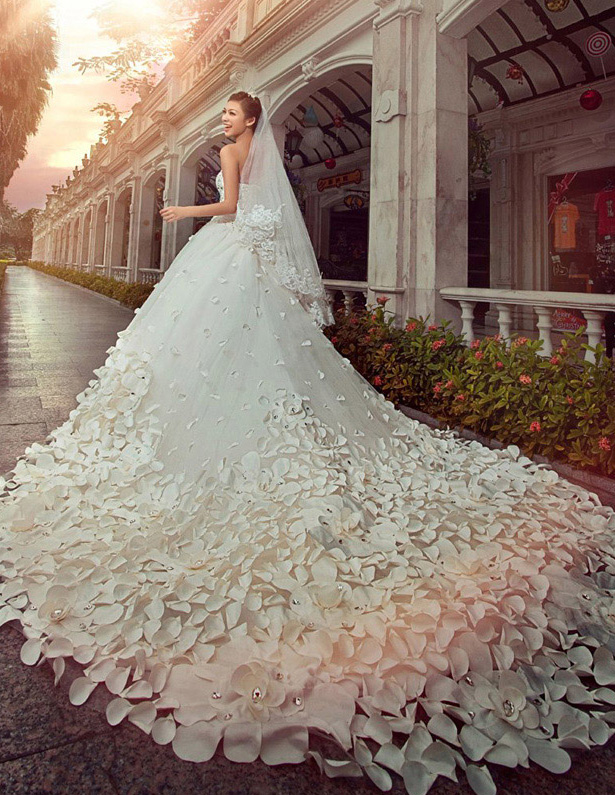 2015 A Line Princess Strapless Cathedral Train Wedding Dress Satin Tulle 1
