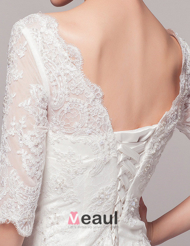 2015 Elegant A-line Shoulders 1/2 Lace Sleeves Deep V-neck Beading Wedding Dress