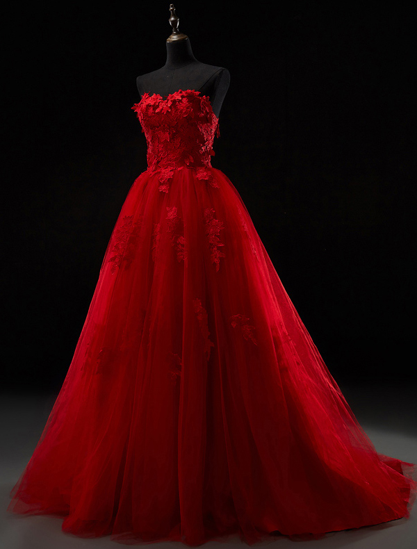 2016 Beautiful Strapless Sweetheart Applique Thick Lace Red Tulle Wedding Dress With Sweep Train