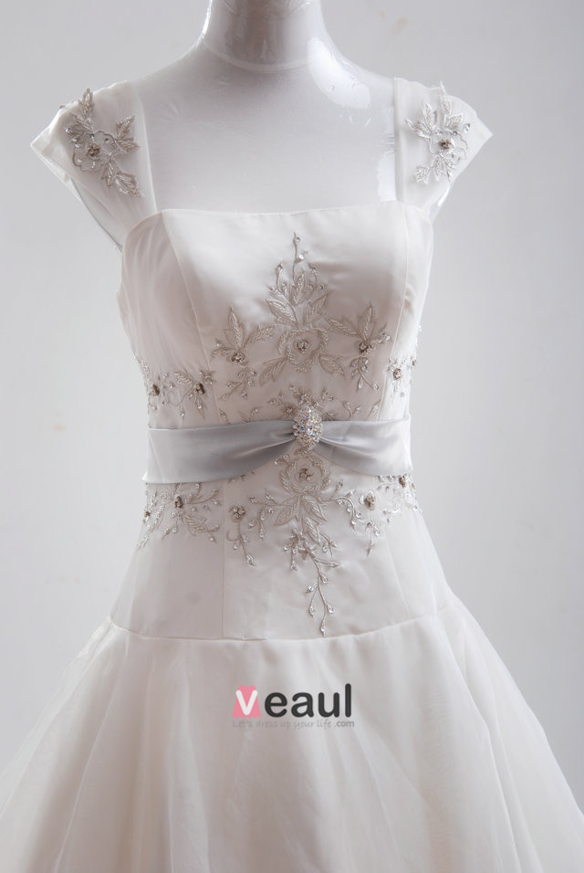 A-Line Square Monarch Train Satin Organza Embroidery Beading Bridal Gown Wedding Dress