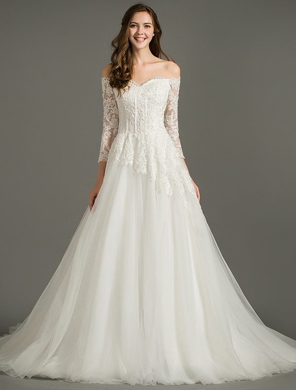 A Line Off The Shoulder Applique Lace Organza Backless Wedding Dress