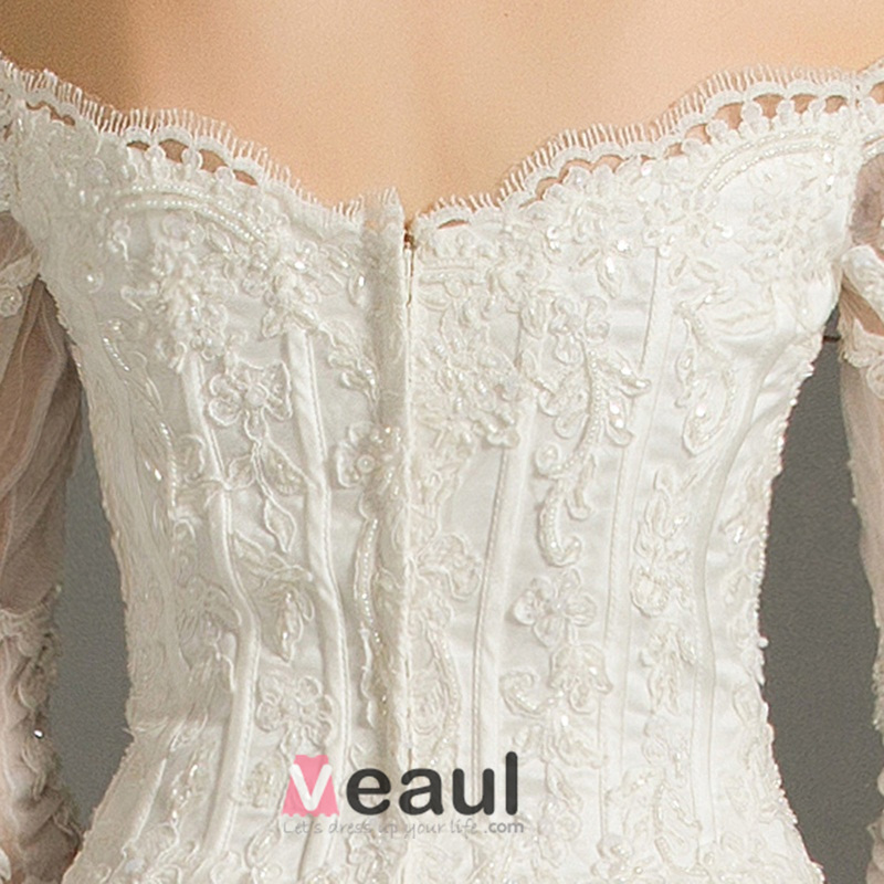 A-line Off The Shoulder Applique Lace Organza Backless Wedding Dress