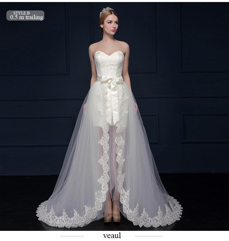 A-line Princess Sweetheart Asymmetrical Lace Wedding Dress