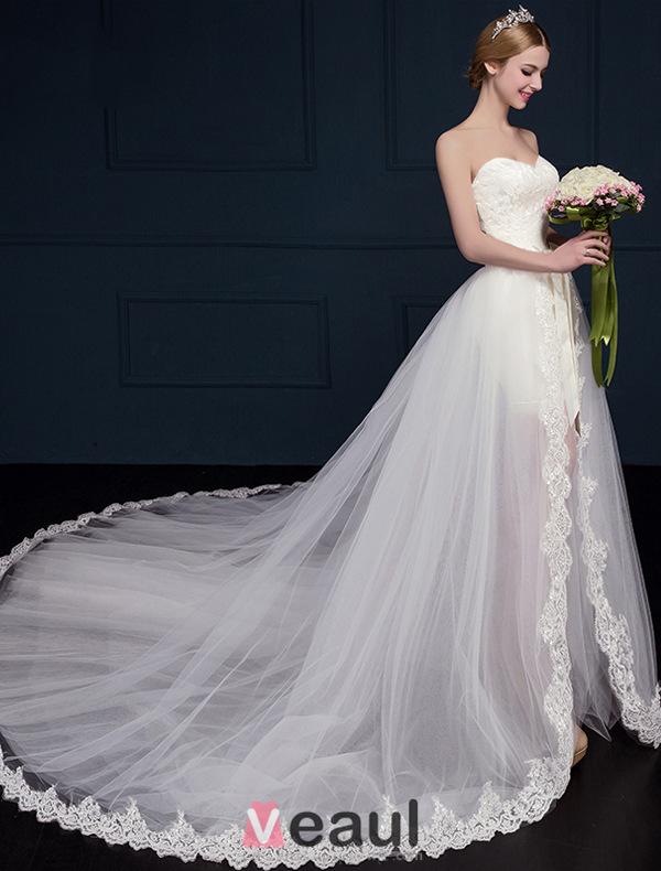 A Line Princess Sweetheart Asymmetrical Lace Wedding Dress 111510001 Veau