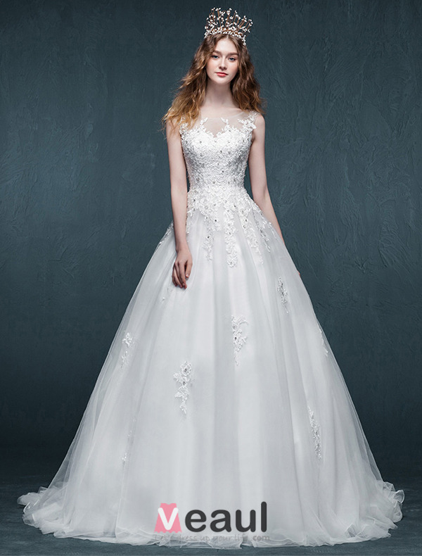 A-line Square Neckline Appliques Lace Beading Rhinestone Organza Wedding Dress