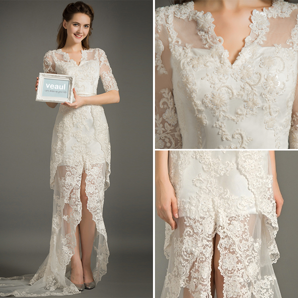 A-line V-neck 1/2 Sleeves Lace Summer Wedding Dress With Sash